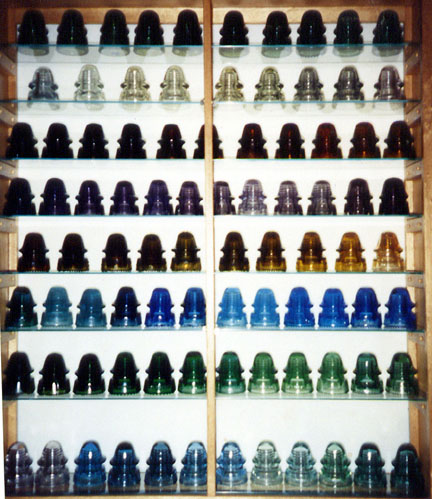 Close-up Look at Display of CD 162 Signal Glass Insulators in All Colors